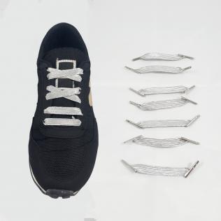 Elastyczne sznurówki materiałowe srebrne